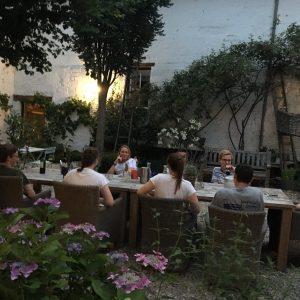 Belgian guests having bbq